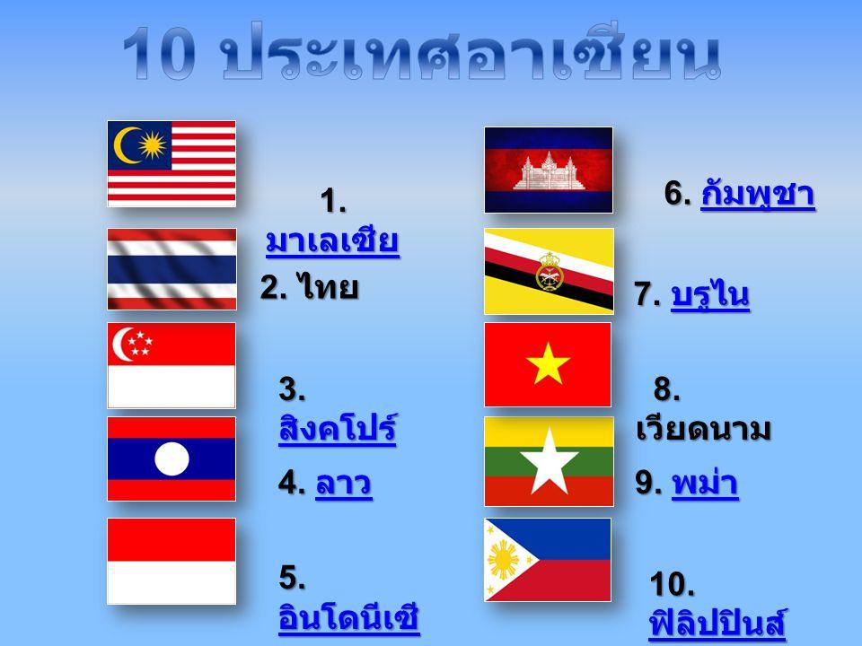 10 ประเทศอาเซียน 6. กัมพูชา 1. มาเลเซีย 2. ไทย 7. บรูไน 3. สิงคโปร์