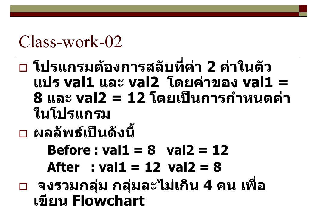 Class-work-02 โปรแกรมต้องการสลับที่ค่า 2 ค่าในตัวแปร val1 และ val2 โดยค่าของ val1 = 8 และ val2 = 12 โดยเป็นการกำหนดค่าในโปรแกรม.