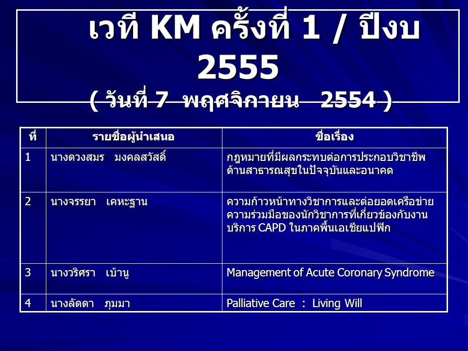 เวที KM ครั้งที่ 1 / ปีงบ 2555 ( วันที่ 7 พฤศจิกายน 2554 )