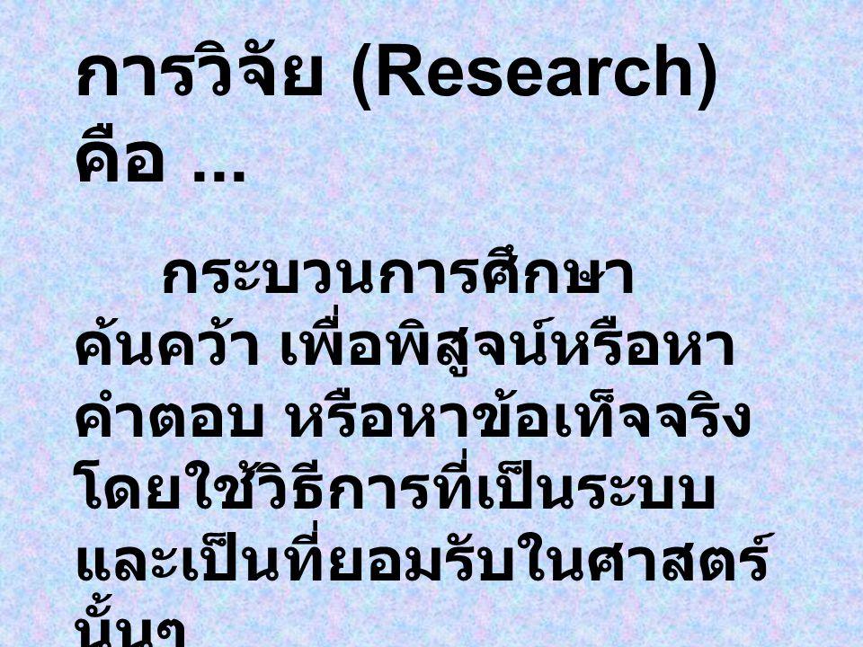 การวิจัย (Research) คือ ...