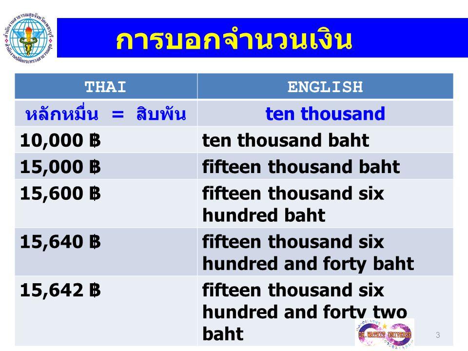 การบอกจำนวนเงิน THAI ENGLISH หลักหมื่น = สิบพัน ten thousand 10,000 ฿