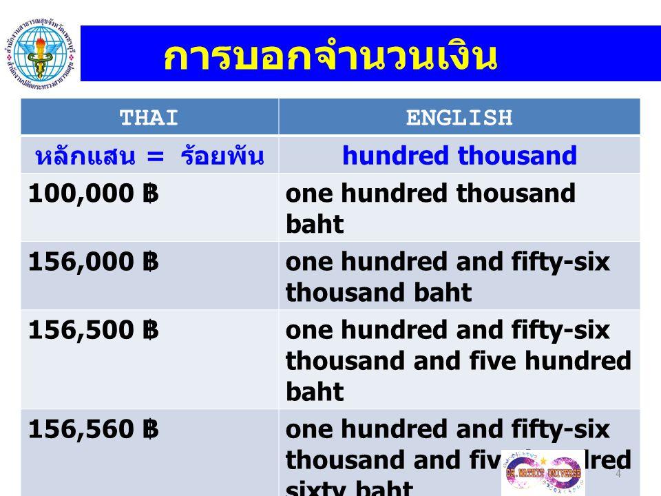 การบอกจำนวนเงิน THAI ENGLISH หลักแสน = ร้อยพัน hundred thousand