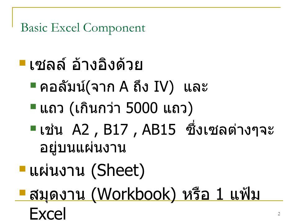 สมุดงาน (Workbook) หรือ 1 แฟ้ม Excel