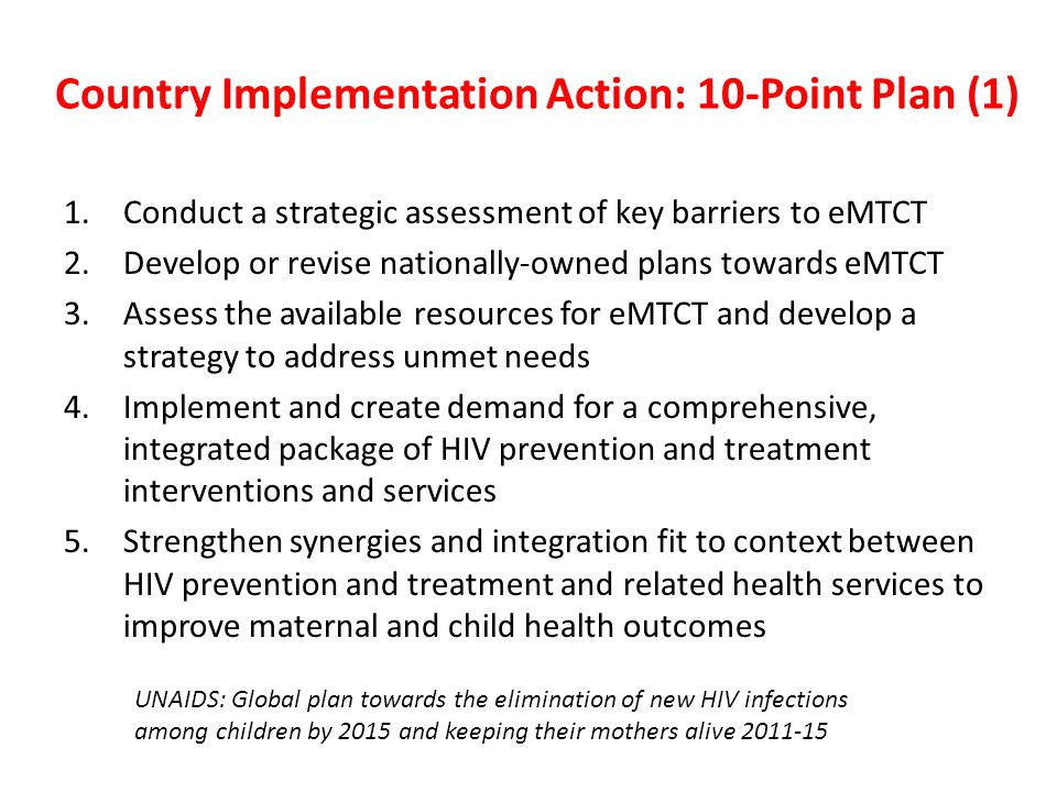 Country Implementation Action: 10-Point Plan (1)
