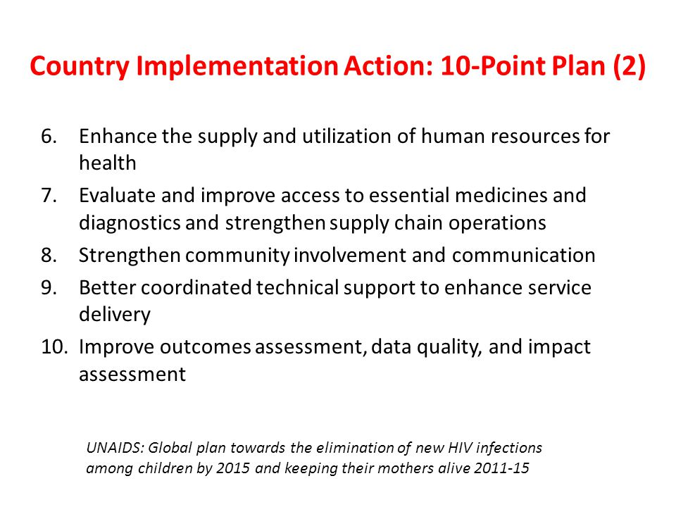 Country Implementation Action: 10-Point Plan (2)