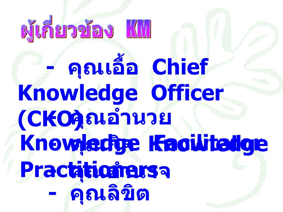 - คุณเอื้อ Chief Knowledge Officer (CKO)