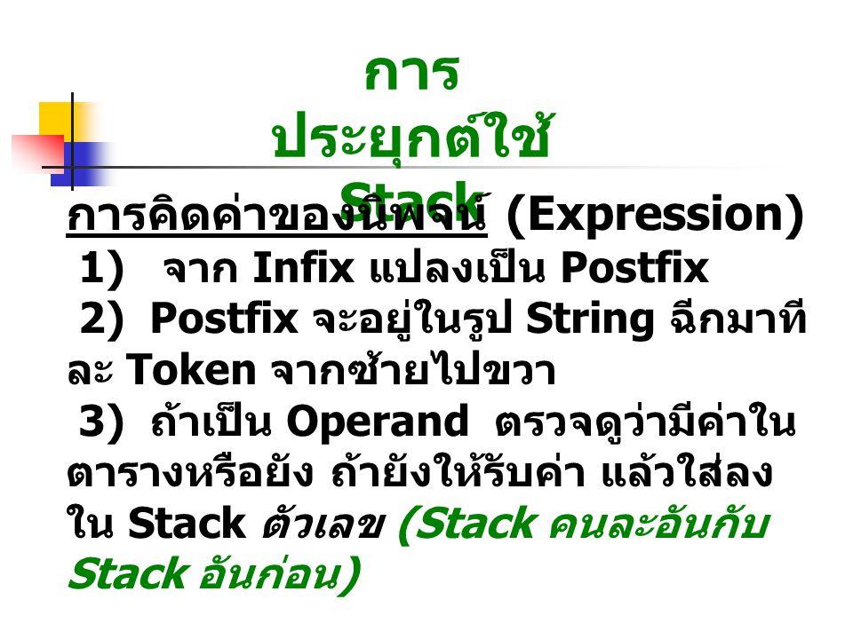 การประยุกต์ใช้ Stack การคิดค่าของนิพจน์ (Expression)
