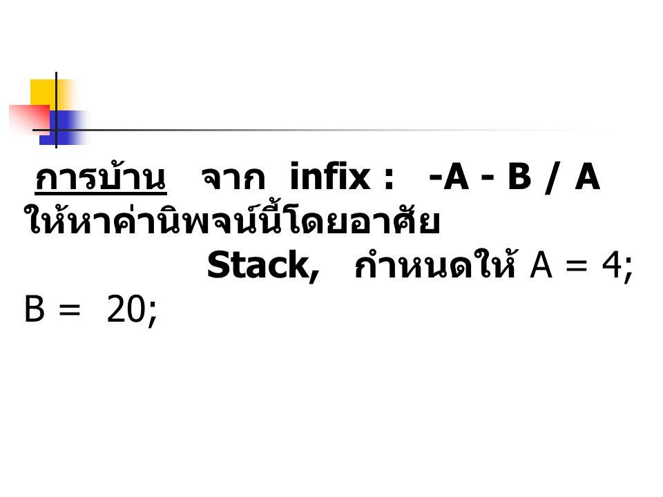 การบ้าน จาก infix : -A - B / A ให้หาค่านิพจน์นี้โดยอาศัย