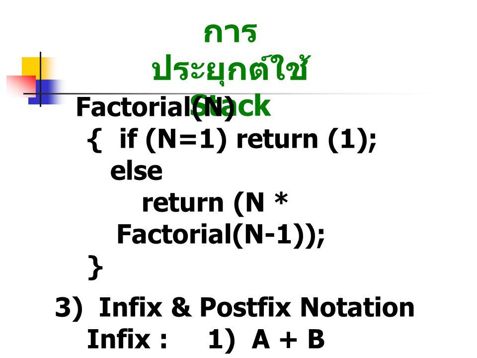 การประยุกต์ใช้ Stack Factorial(N) { if (N=1) return (1); else