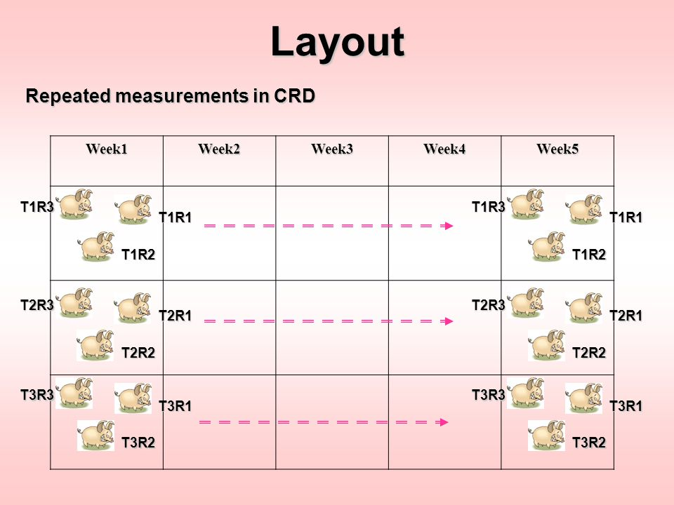 Layout Repeated measurements in CRD Week1 Week2 Week3 Week4 Week5 T1R3