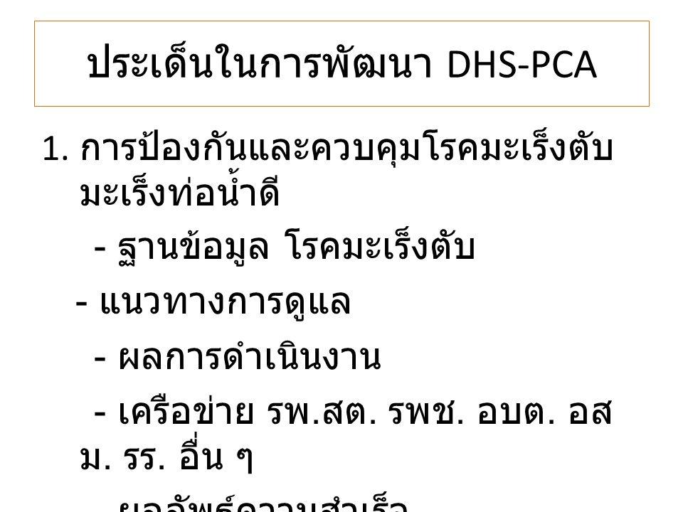 ประเด็นในการพัฒนา DHS-PCA