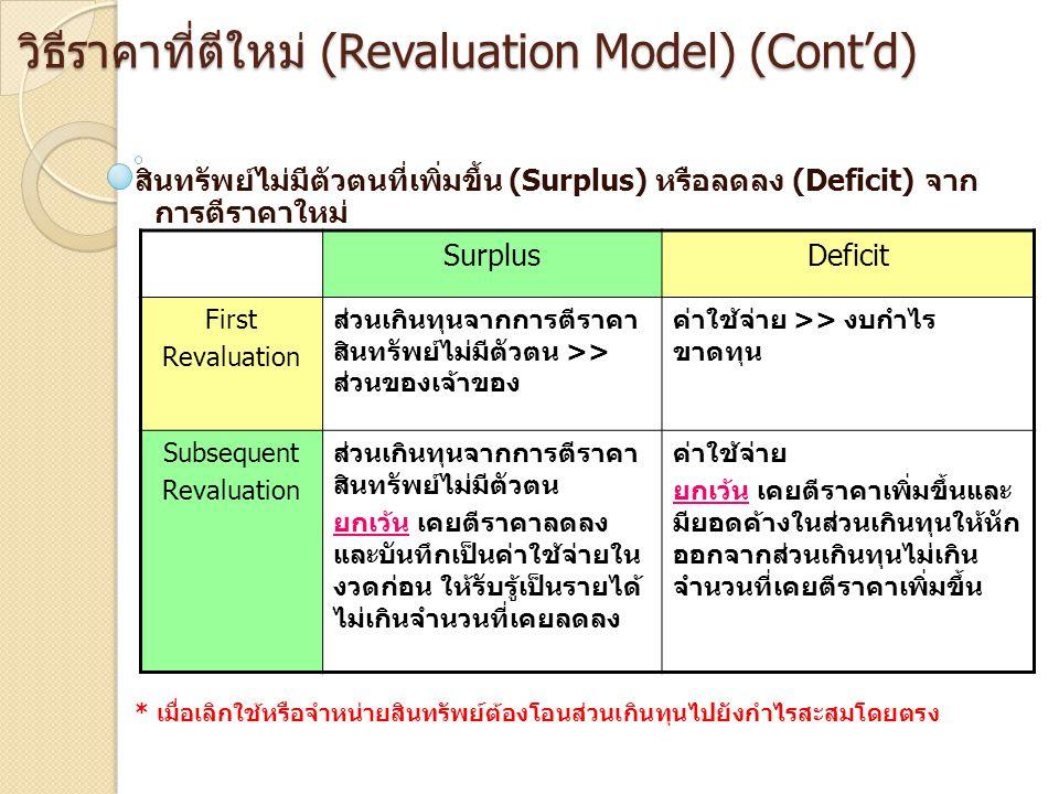 วิธีราคาที่ตีใหม่ (Revaluation Model) (Cont'd)