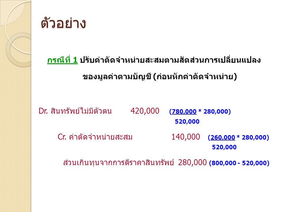 ตัวอย่าง Cr. ค่าตัดจำหน่ายสะสม 140,000 (260,000 * 280,000)