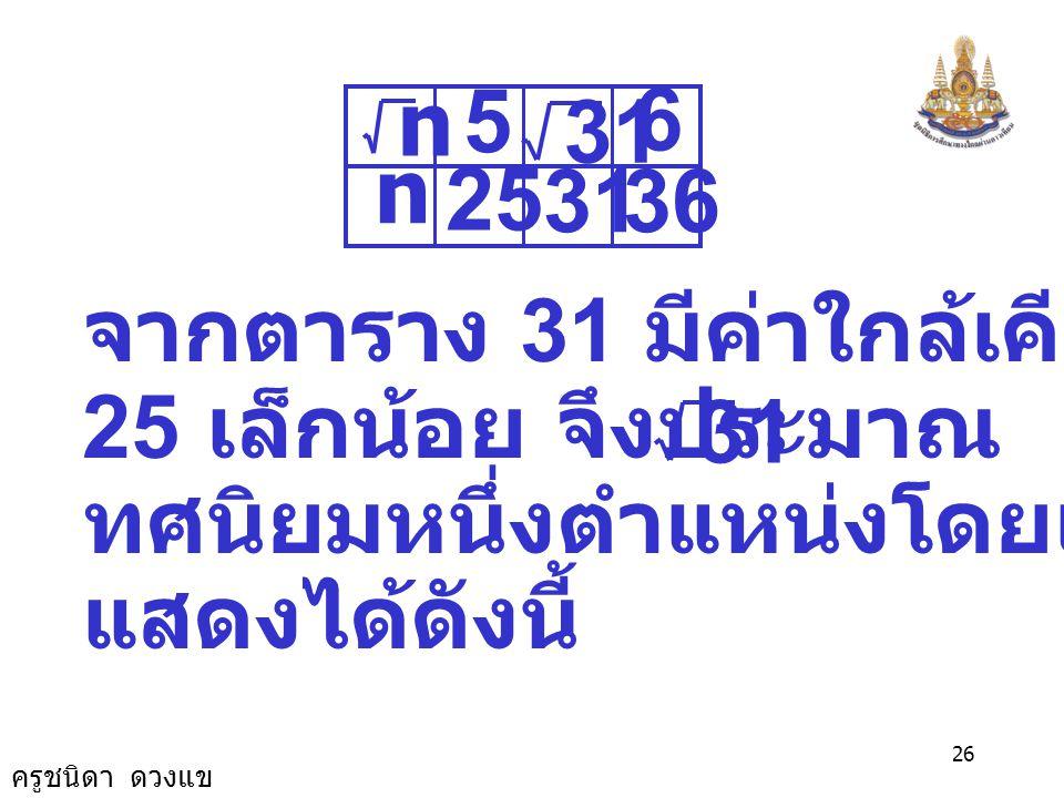 5 25. 31. 36. 6. n. จากตาราง 31 มีค่าใกล้เคียง 36 มากกว่า. 25 เล็กน้อย จึงประมาณ เป็น.