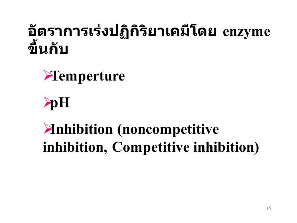 อัตราการเร่งปฏิกิริยาเคมีโดย enzyme ขึ้นกับ