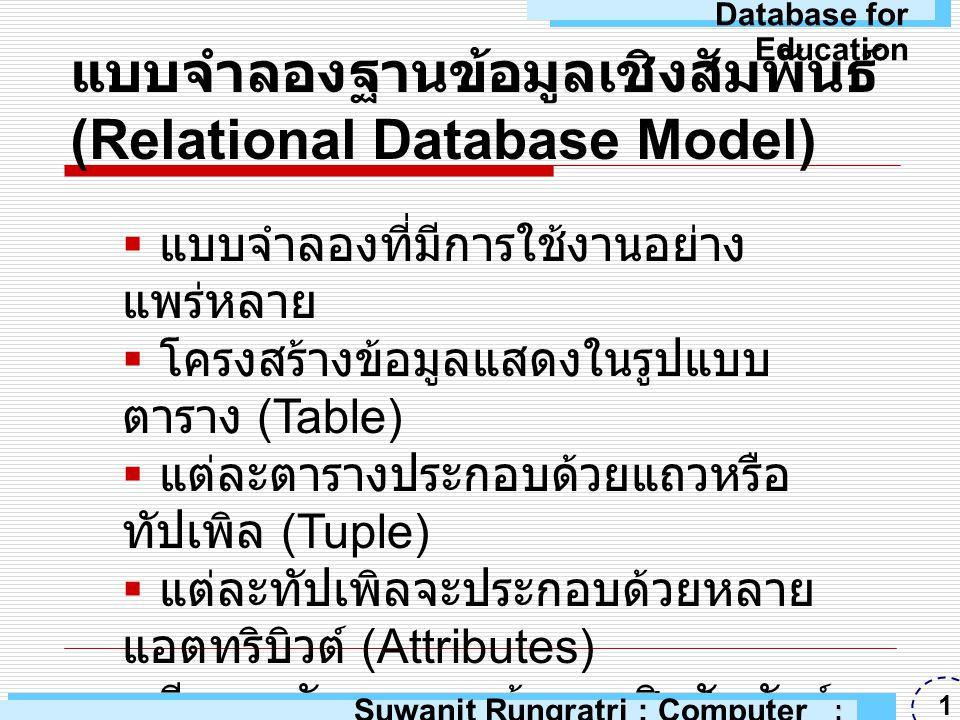 แบบจำลองฐานข้อมูลเชิงสัมพันธ์ (Relational Database Model)