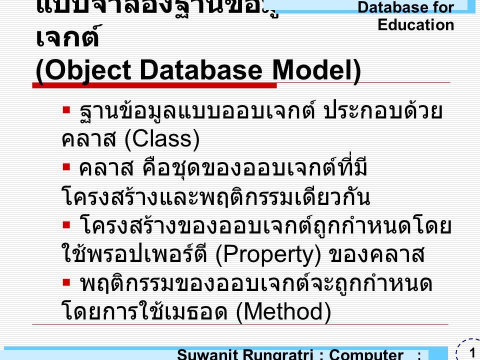 แบบจำลองฐานข้อมูลแบบออบเจกต์ (Object Database Model)