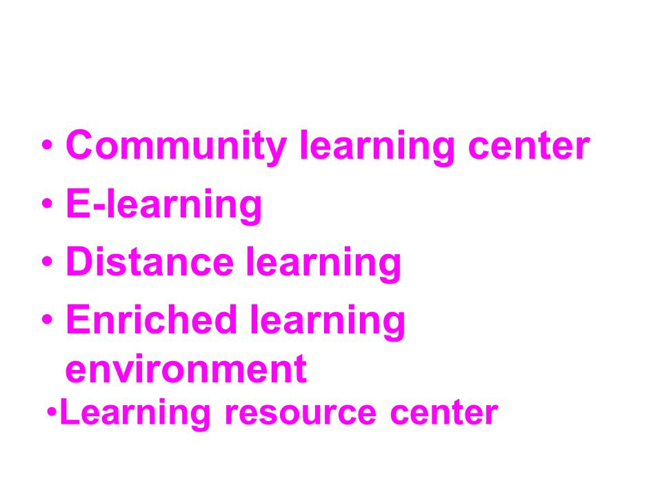 Community learning center E-learning Distance learning
