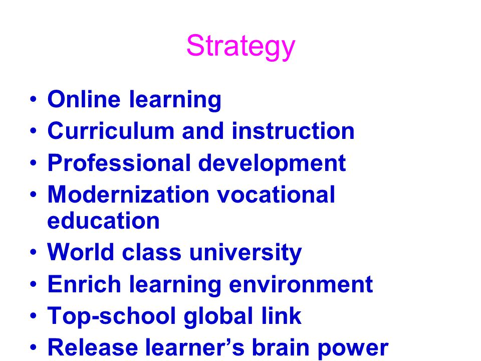 Strategy Online learning Curriculum and instruction