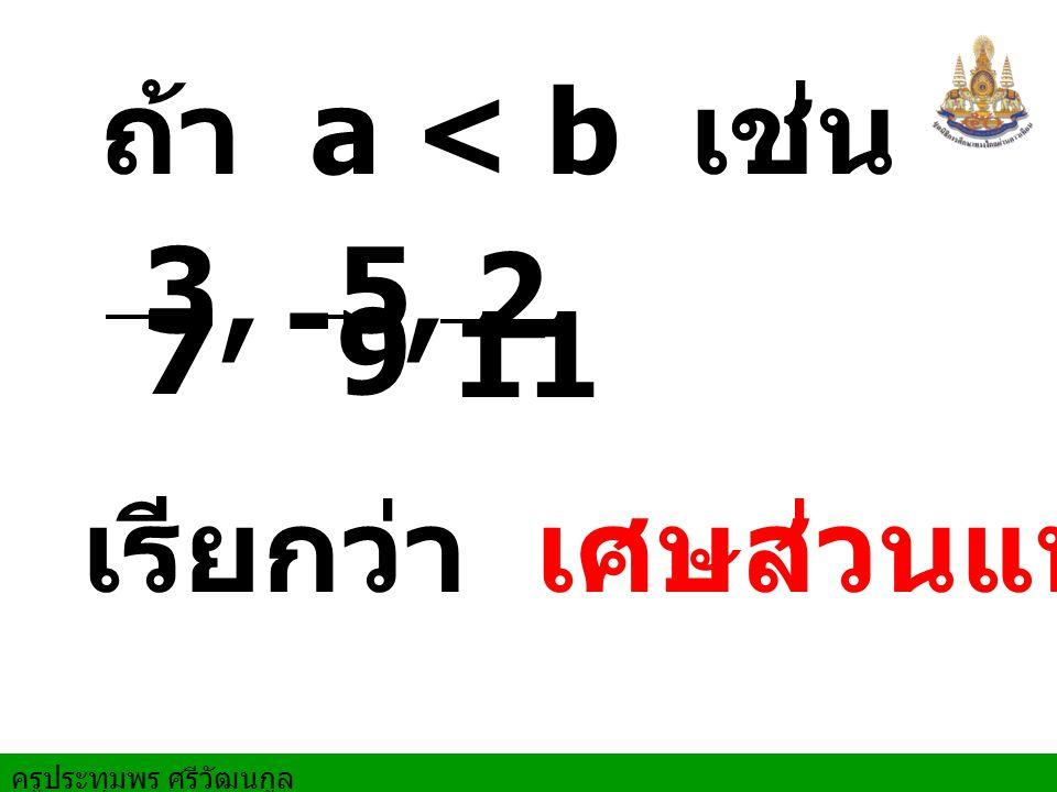 ถ้า a < b เช่น 3 7 5 9 - , , 2 11 เรียกว่า เศษส่วนแท้