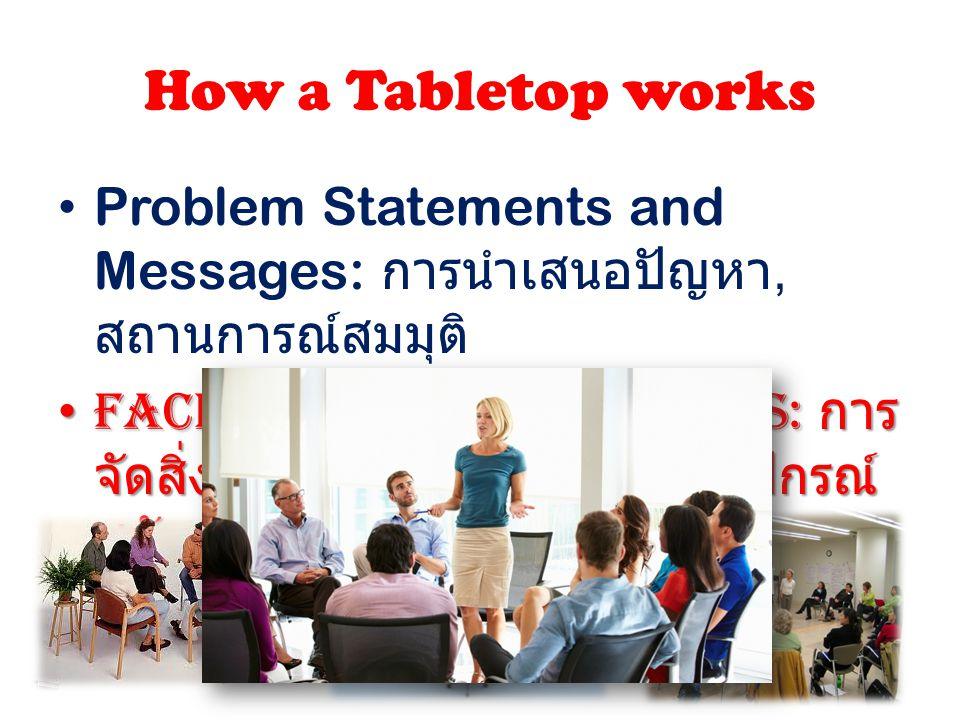 How a Tabletop works Problem Statements and Messages: การนำเสนอปัญหา, สถานการณ์สมมุติ
