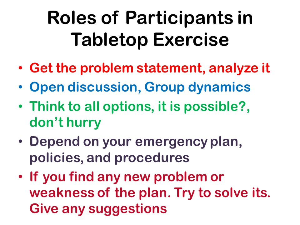 Roles of Participants in Tabletop Exercise