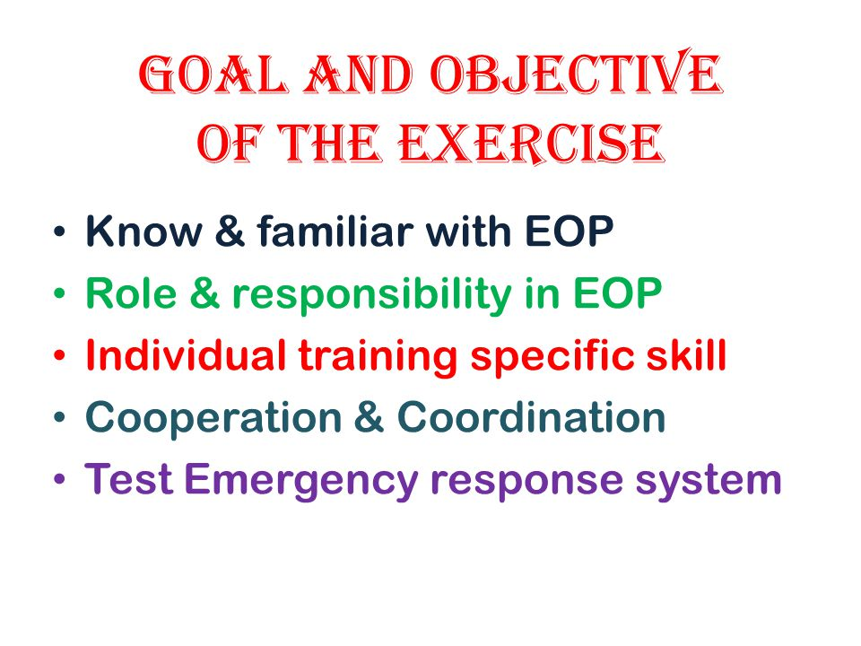 Goal and Objective of the Exercise
