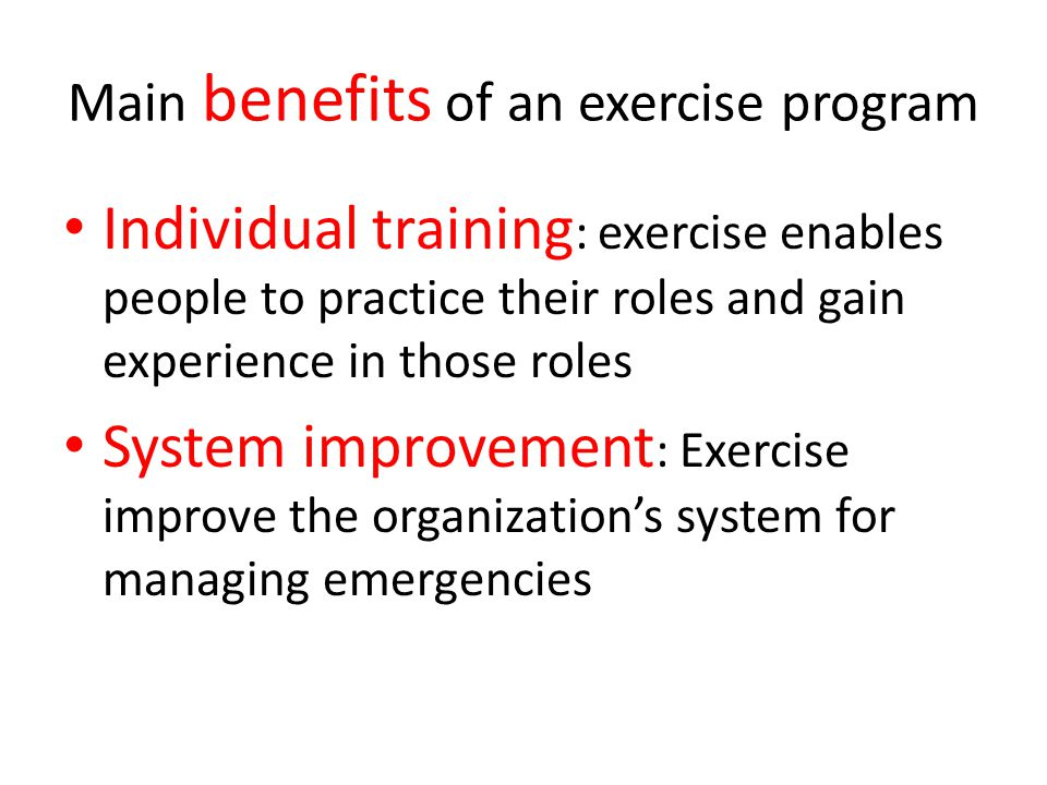 Main benefits of an exercise program