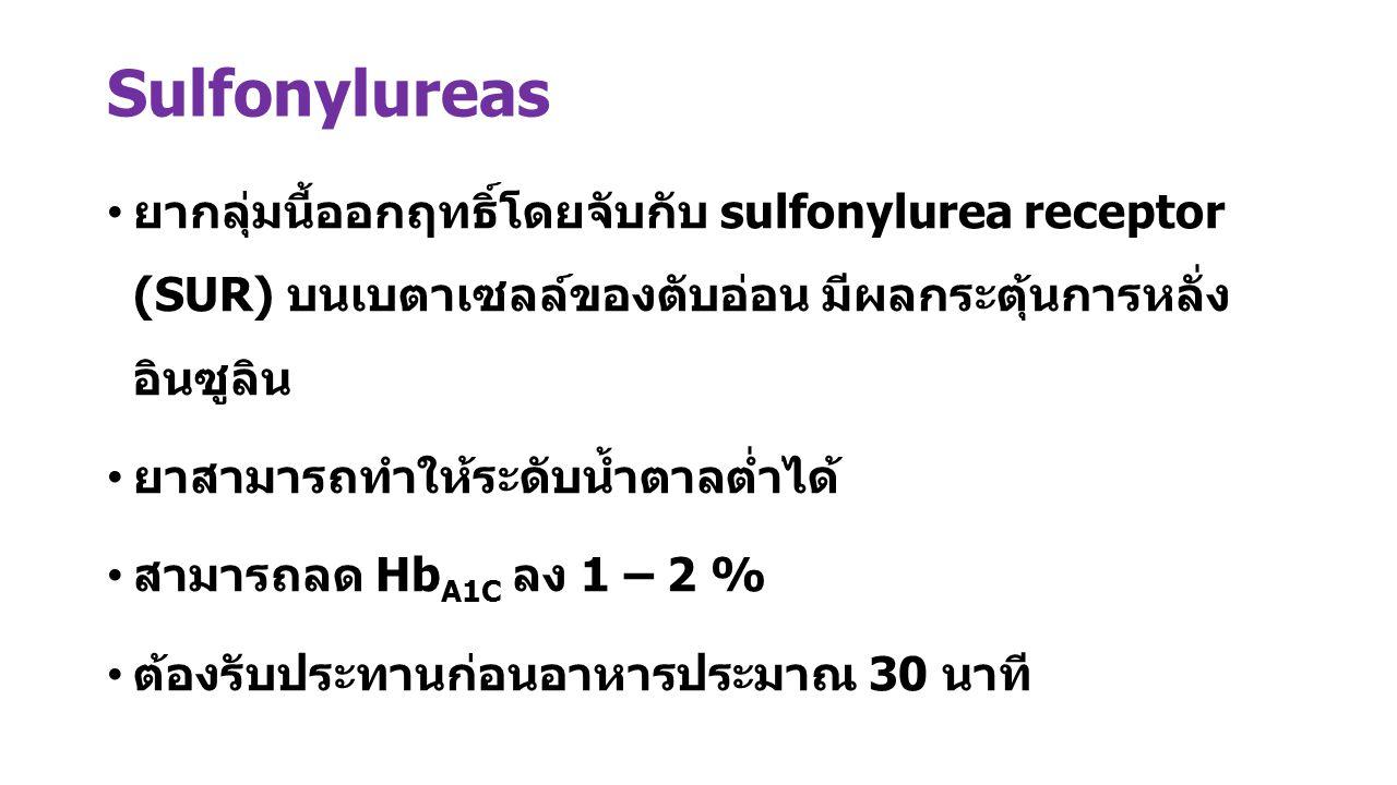 Sulfonylureas ยากลุ่มนี้ออกฤทธิ์โดยจับกับ sulfonylurea receptor (SUR) บนเบตาเซลล์ของตับอ่อน มีผลกระตุ้นการหลั่ง อินซูลิน.