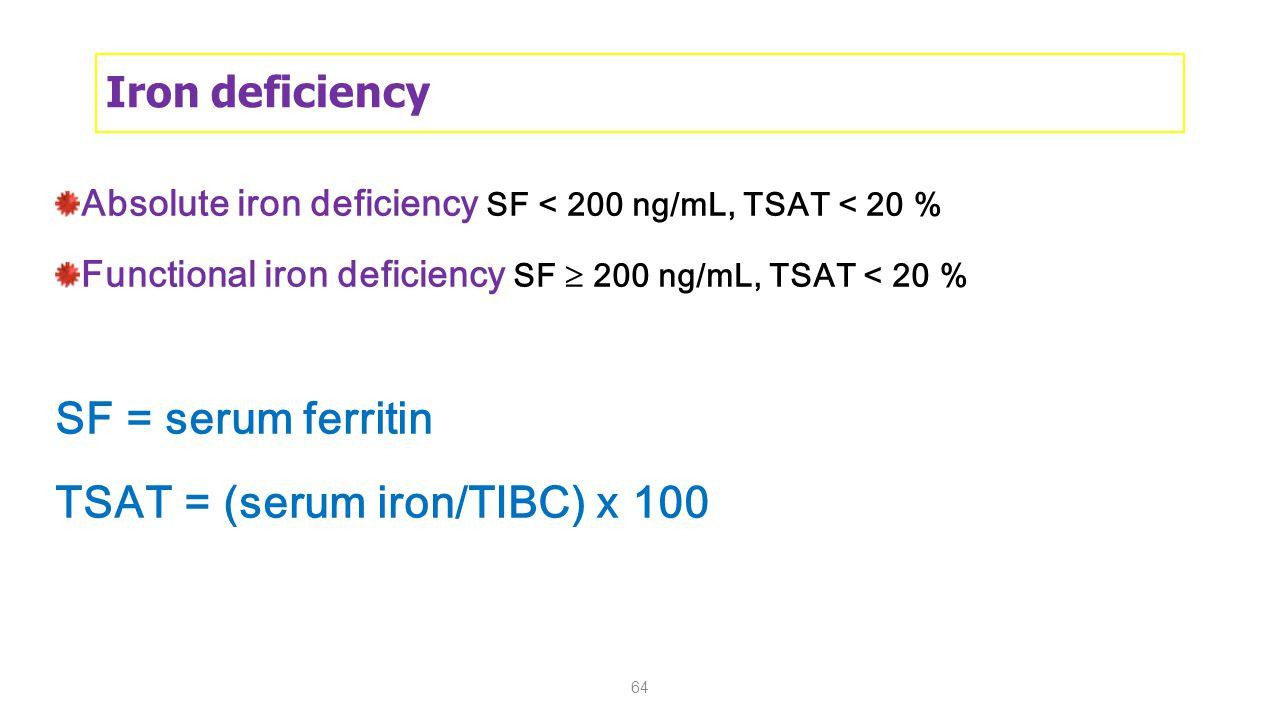 TSAT = (serum iron/TIBC) x 100