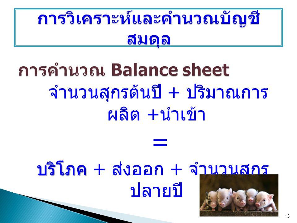 การคำนวณ Balance sheet