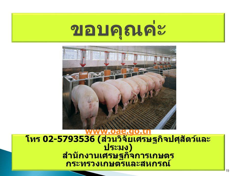 ขอบคุณค่ะ www.oae.go.th. โทร 02-5793536 (ส่วนวิจัยเศรษฐกิจปศุสัตว์และประมง) สำนักงานเศรษฐกิจการเกษตร.