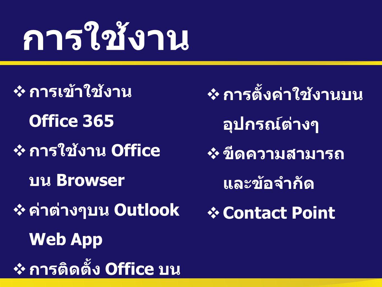 การใช้งาน การเข้าใช้งาน Office 365 การตั้งค่าใช้งานบนอุปกรณ์ต่างๆ