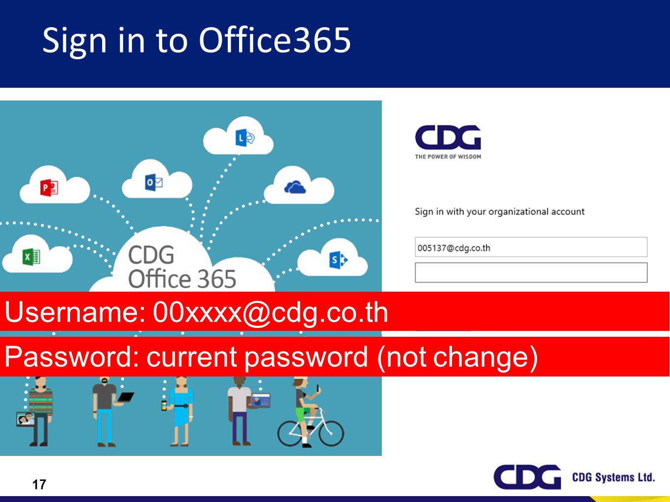 Sign in to Office365 Username: 00xxxx@cdg.co.th
