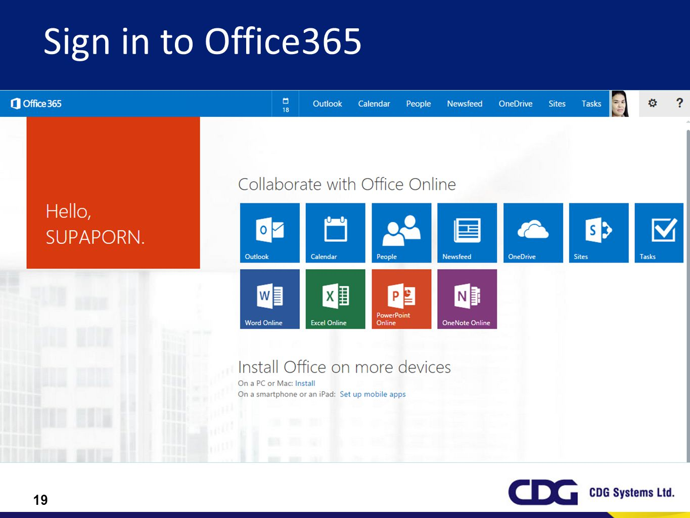 Sign in to Office365