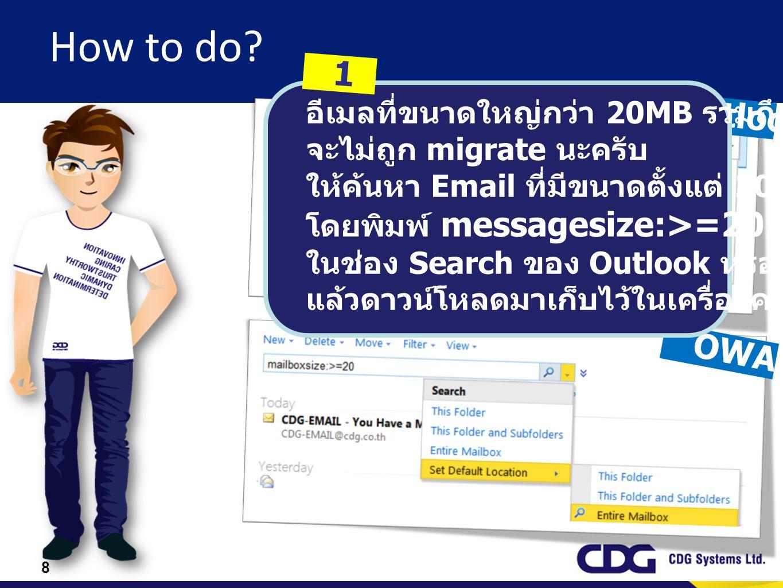 How to do 1 Outlook OWA อีเมลที่ขนาดใหญ่กว่า 20MB รวมถึงไฟล์แนบ