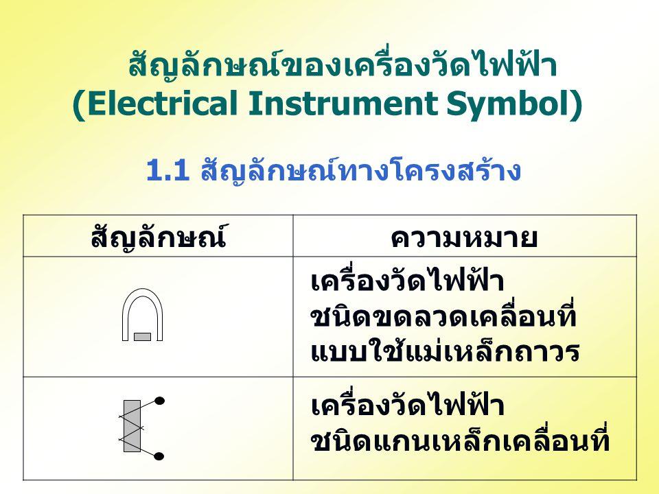 สัญลักษณ์ของเครื่องวัดไฟฟ้า