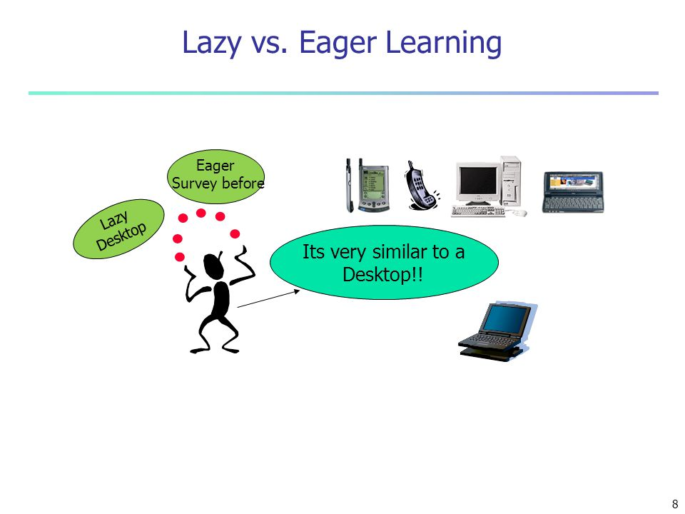 Lazy vs. Eager Learning Its very similar to a Desktop!! Eager