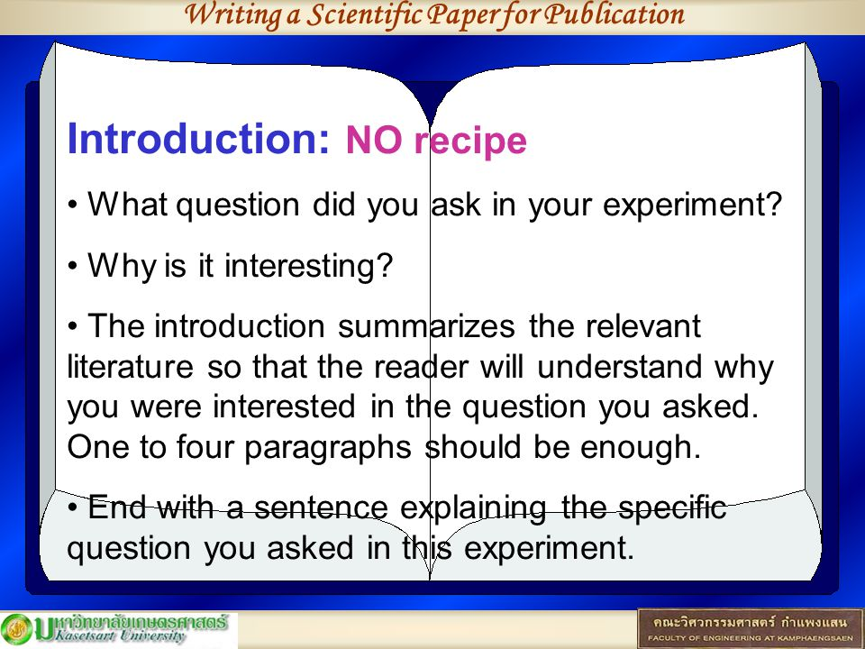 Writing a Scientific Paper for Publication