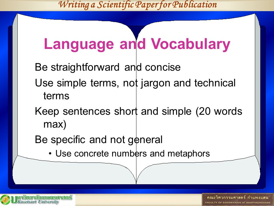 Writing a Scientific Paper for Publication Language and Vocabulary