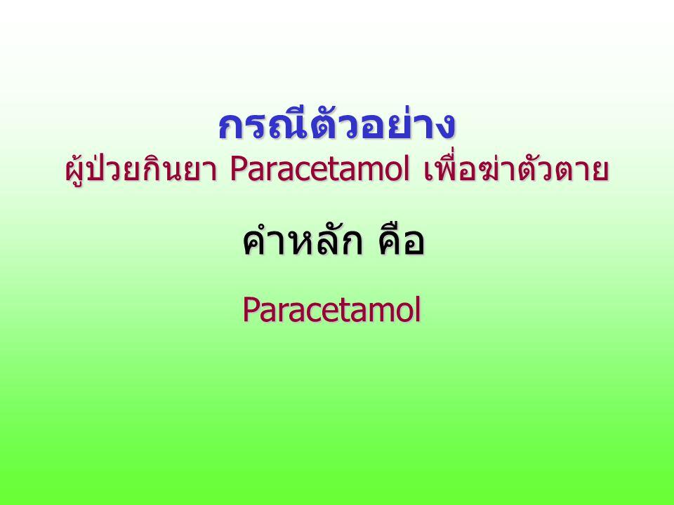 กรณีตัวอย่าง ผู้ป่วยกินยา Paracetamol เพื่อฆ่าตัวตาย