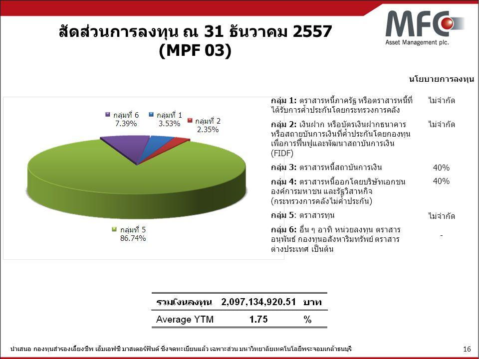 สัดส่วนการลงทุน ณ 31 ธันวาคม 2557 (MPF 03)