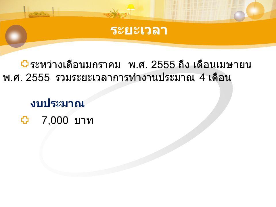 ระยะเวลา ระหว่างเดือนมกราคม พ.ศ. 2555 ถึง เดือนเมษายน พ.ศ. 2555 รวมระยะเวลาการทำงานประมาณ 4 เดือน.