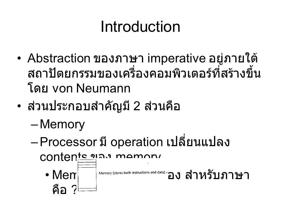 Introduction Abstraction ของภาษา imperative อยู่ภายใต้สถาปัตยกรรมของเครื่องคอมพิวเตอร์ที่สร้างขึ้นโดย von Neumann.