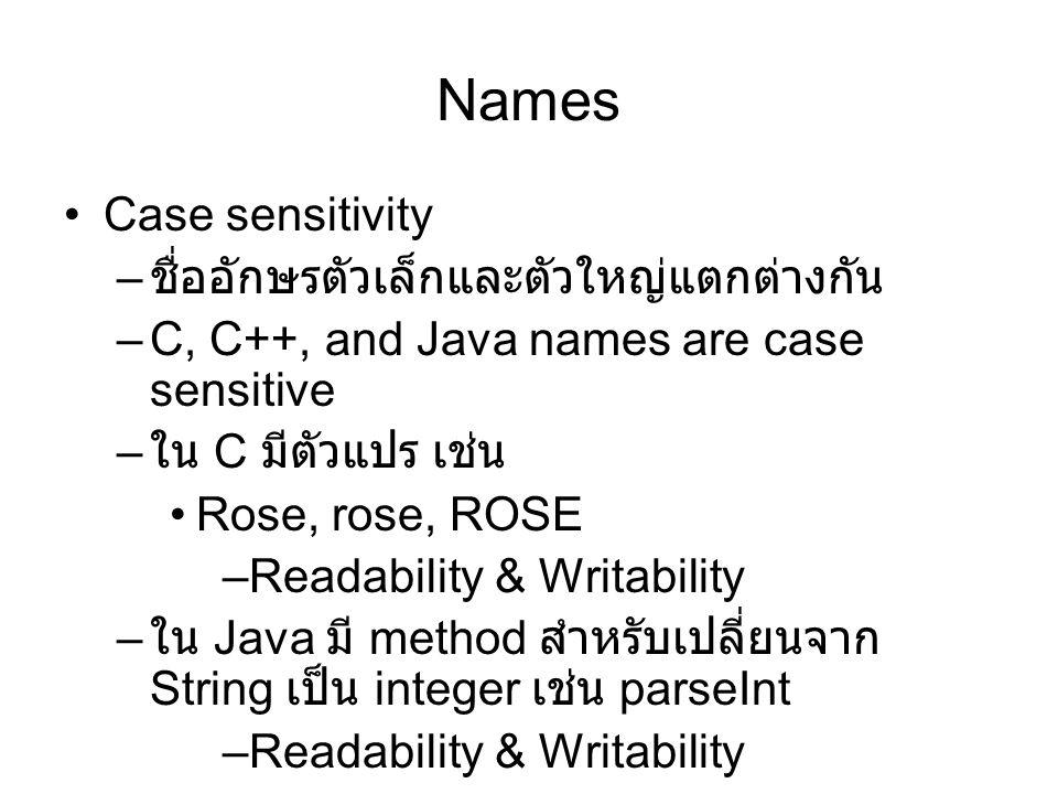 Names Case sensitivity ชื่ออักษรตัวเล็กและตัวใหญ่แตกต่างกัน