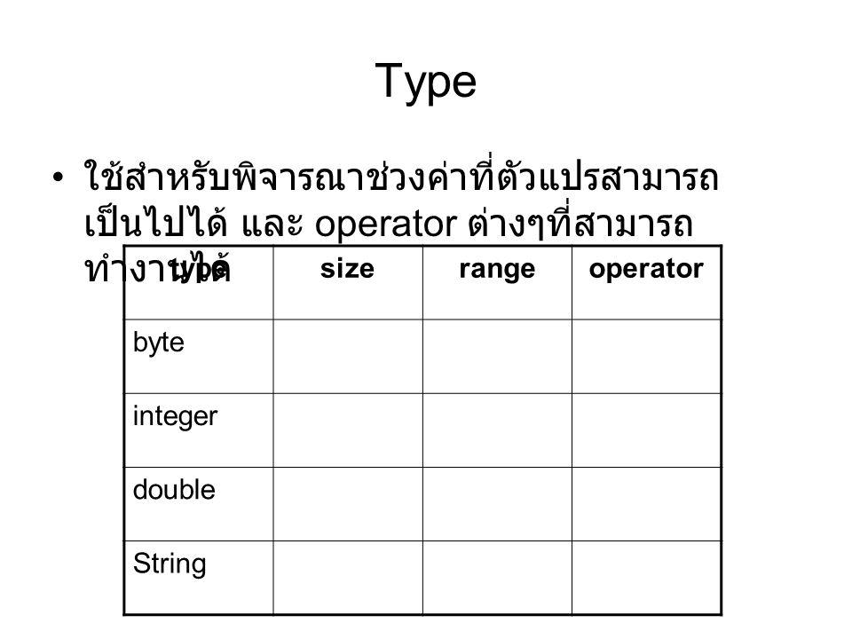 Type ใช้สำหรับพิจารณาช่วงค่าที่ตัวแปรสามารถเป็นไปได้ และ operator ต่างๆที่สามารถทำงานได้ type. size.