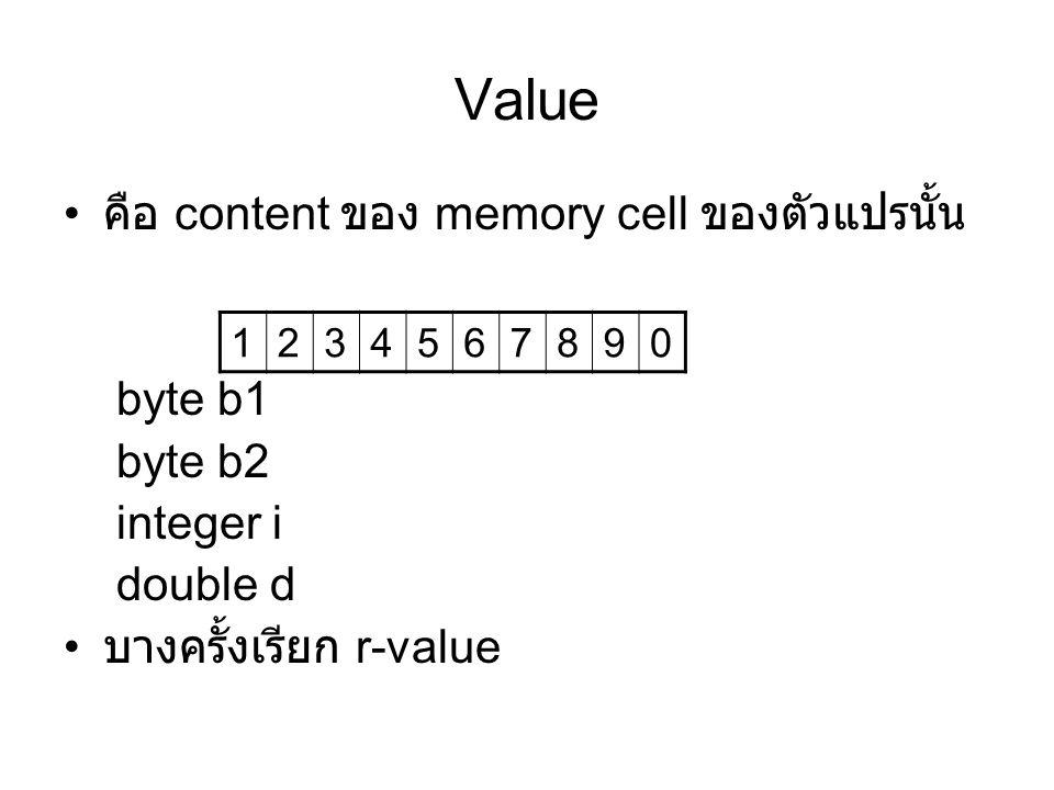 Value คือ content ของ memory cell ของตัวแปรนั้น byte b1 byte b2