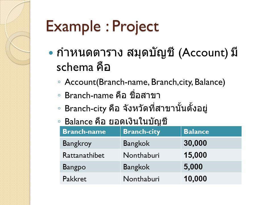 Example : Project กำหนดตาราง สมุดบัญชี (Account) มี schema คือ