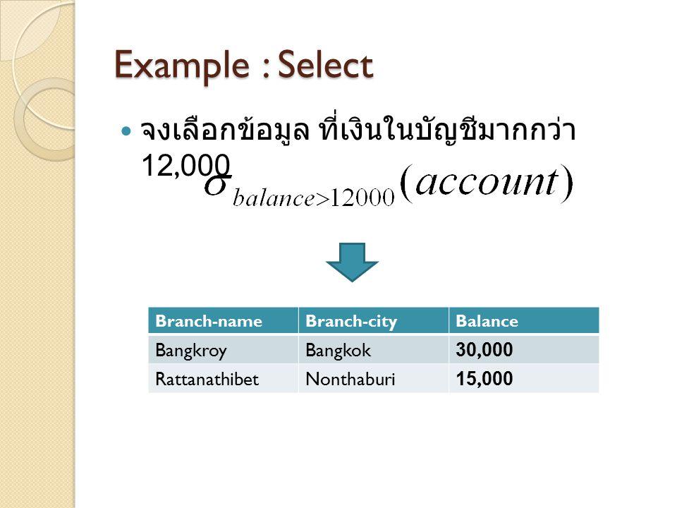 Example : Select จงเลือกข้อมูล ที่เงินในบัญชีมากกว่า 12,000 Bangkroy