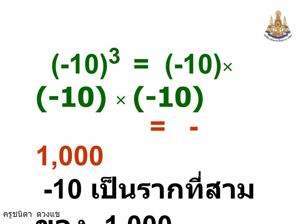 (-10)3 = (-10)× (-10) × (-10) = -1,000 -10 เป็นรากที่สามของ -1,000